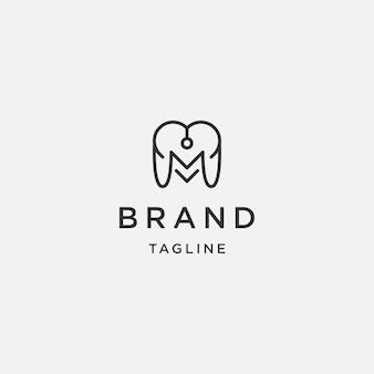 M initial du modèle de conception de logo d'amour