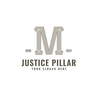 M lettre logo justice et cabinet d'avocats pilier audacieux dessin au trait professionnel