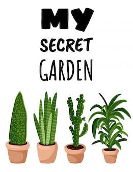 Ma carte postale de lettrage de jardin secret.