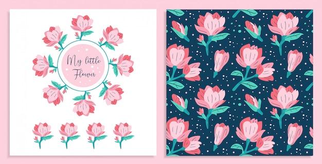 Ma petite fleur. petites cartes de fleurs de magnolia rose.