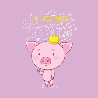 Ma petite princesse. cochon mignon en couronne.