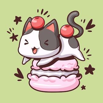 Macaron et chat mignon