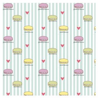 Macaron et coeur sur le motif de ligne bleue