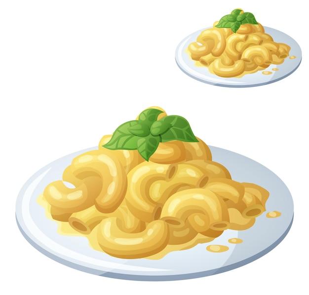 Macaroni au fromage isolé sur fond blanc icône vecteur détaillé