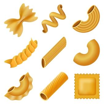 Macaroni pâtes spaghetti maquette ensemble