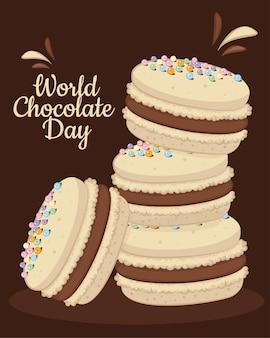 Macarons fourrés au chocolat. concept de la journée mondiale du chocolat avec des macarons français