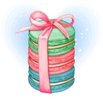 Macarons pastels aquarelle mignons