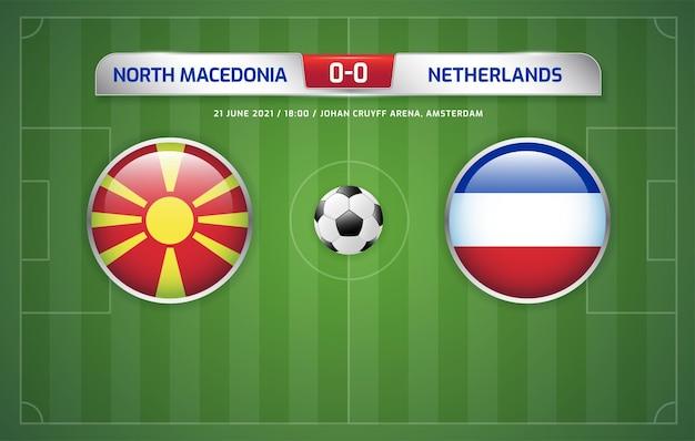 Macédoine du nord vs pays-bas tableau de bord diffusé tournoi de football 2020 groupes c