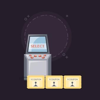 Machine d'arcade de jeu vidéo et icône de coupons
