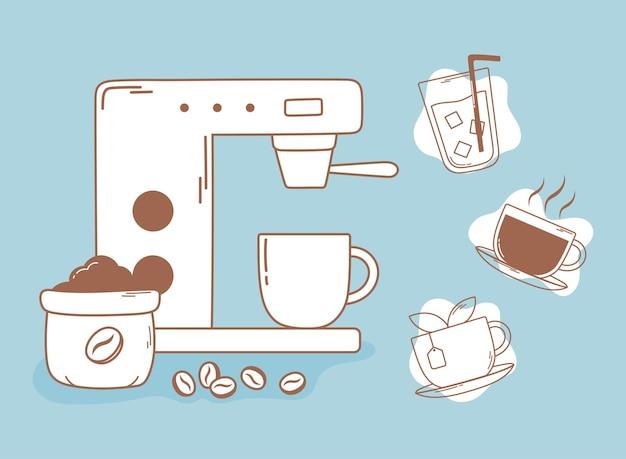Machine à café expresso grains thé et ligne de tasse et illustration de remplissage