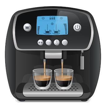 Machine à café réaliste avec des tasses isolées sur illustration vectorielle fond blanc