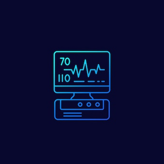 Machine d'ecg, icône linéaire de diagnostic cardiaque