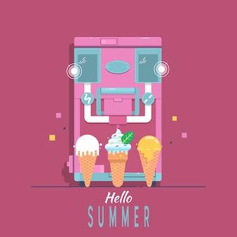 Machine à glace avec lettrage hello summer.