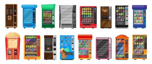 Machine avec icône de jeu de dessin animé isolé alimentaire. dessin animé mis icône snack automatique.