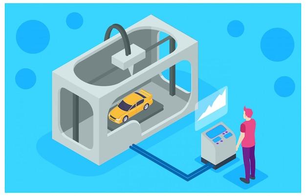 Machine d'imprimante 3d faisant la voiture