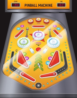 Machine de jeu de composition de flipper coloré et de dessin animé dans le centre de divertissement