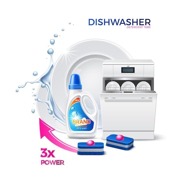 Machine de lave-vaisselle réaliste de vecteur avec assiettes propres