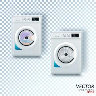 Machine à laver en acier blanc moderne réaliste