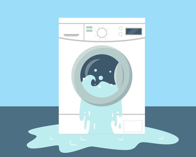 Machine à laver cassée et eau sur le sol.