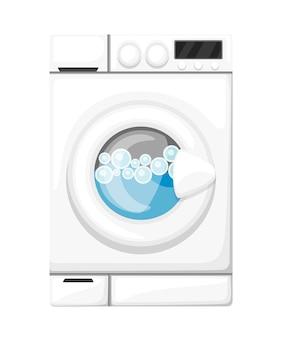 Machine à laver en état de marche. appareils électroménagers blancs. bulles d'eau et de savon. illustration sur fond blanc
