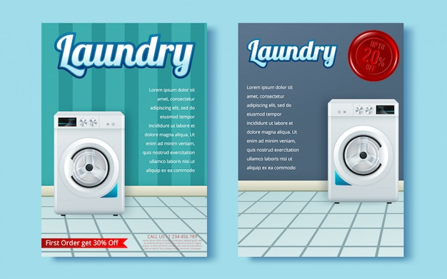 Machine à laver sur flyer abstrait.