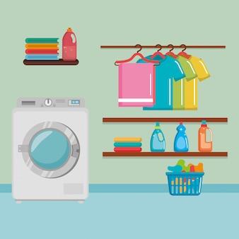 Machine à laver avec des icônes de service de blanchisserie