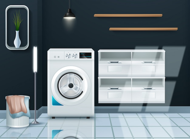 Machine à laver moderne réaliste dans la buanderie vide
