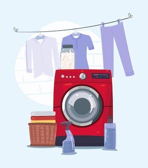 Machine à laver rouge dans la scène de blanchisserie