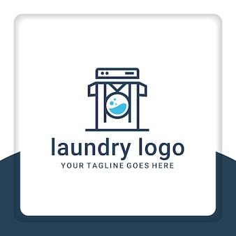 Machine à laver les vêtements de vecteur de conception de logo de blanchisserie