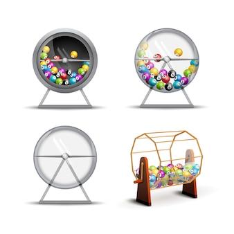 Machine de loterie avec des boules de loterie à l'intérieur