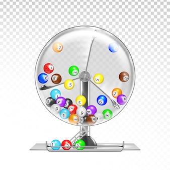Machine de loterie avec des boules de loto à l'intérieur