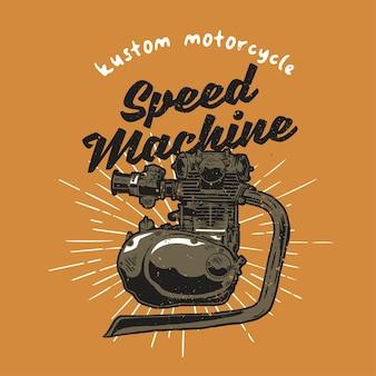 Machine à moto vintage dessinée à la main avec effet grunge et fond d'éclat d'étoile