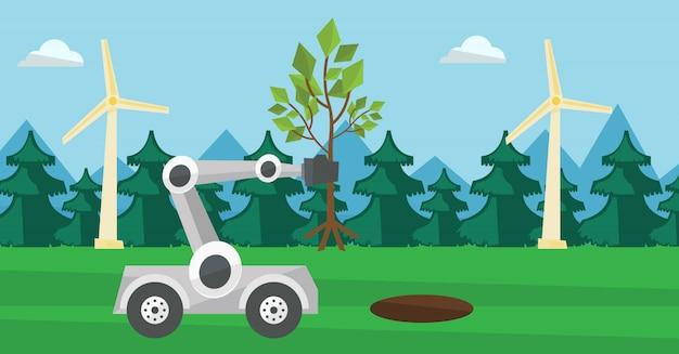 La machine robot plante un grand arbre.