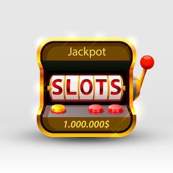 La machine à sous 3d remporte le jackpot, isolé sur fond blanc. illustration vectorielle