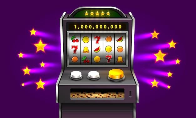La machine à sous 3d remporte le jackpot, isolée sur fond d'étoile violette. illustration vectorielle