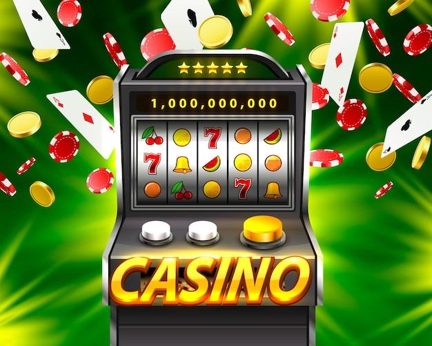 La machine à sous 3d remporte le jackpot, isolée sur fond vert. illustration vectorielle
