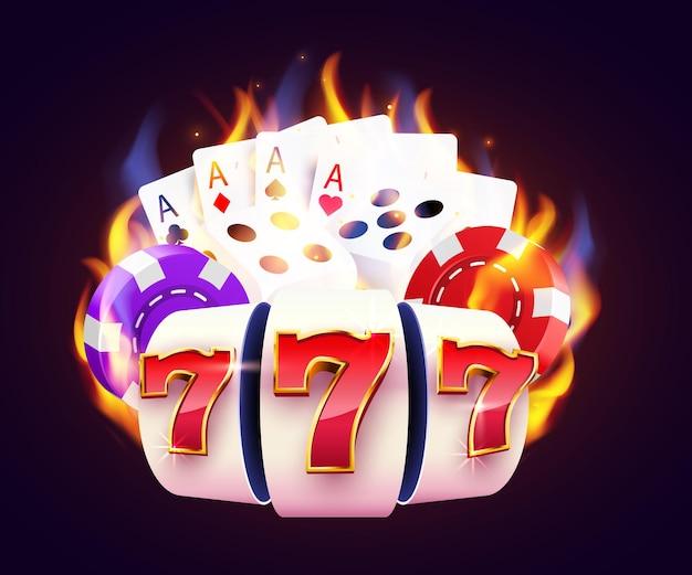 La machine à sous brûlante, les dés, les cartes de poker gagnent le jackpot. fire casino hot 777.