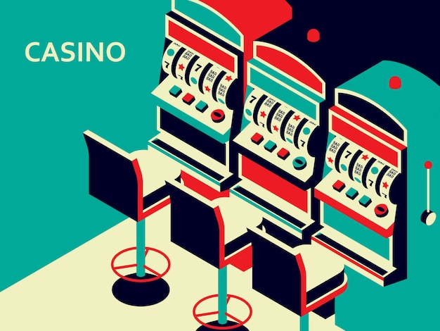 Machine à sous de casino dans un style plat isométrique. appareil de jeu à un bras