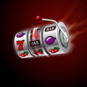 Machine à sous casino en mouvement feu rougeoyant.