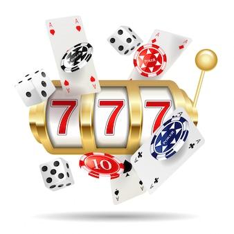 Machine à sous de casino d'or, modèle d'affiche de jackpot