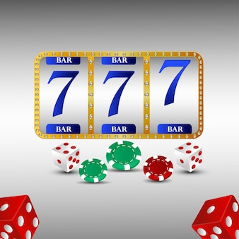 Machine à sous réaliste de casino avec des dés réalistes et des jetons de casino