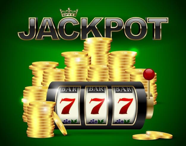 Machine à sous avec sept chanceux et pièces d'or et texte de jackpot noir rouge avec couronne sur fond de casino vert.