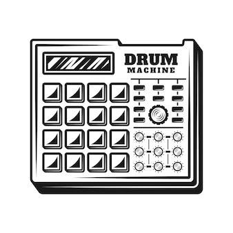 Machine à tambour producteur de musique équipement vector illustration dans le style monochrome vintage isolé sur fond blanc