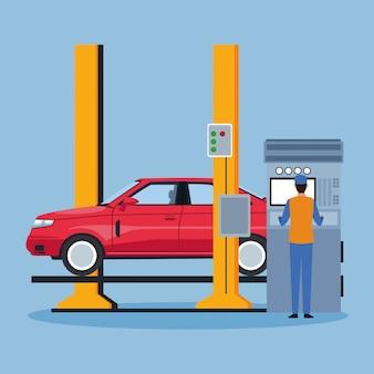 Machine avec voiture levée et mécanicien travaillant sur bleu