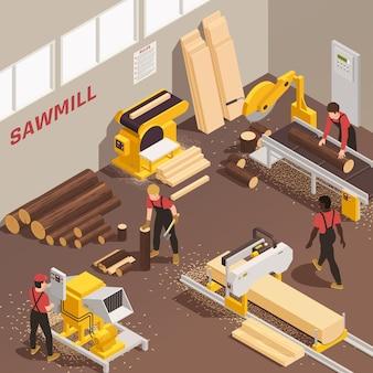Machines à bois et bûcherons travaillant à la scierie 3d isométrique