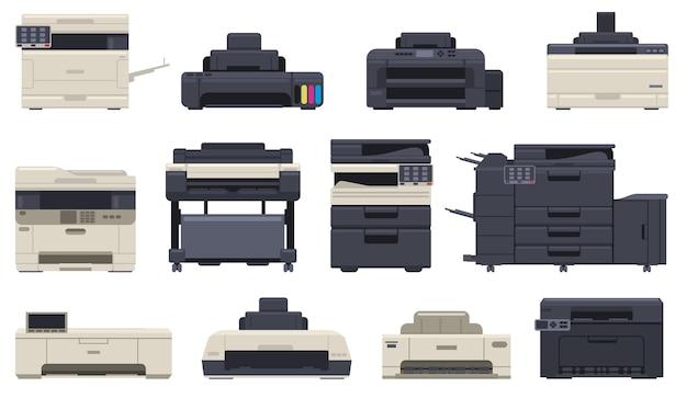 Machines de copieur de scanner d'imprimante d'équipement professionnel de bureau. appareils de bureau technologique, imprimante à jet d'encre, ensemble d'illustrations vectorielles de copieur. machine d'impression numérique