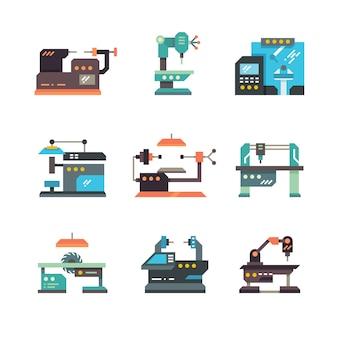 Machines-outils cnc industrielles et icônes plates de machines automatisées