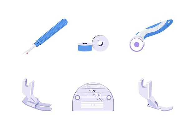 Machines-outils à coudre et pièces dans un fond blanc