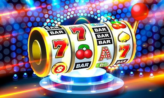 Machines à sous bannière de pièces d'or jackpot casino d couverture vecteur de machines à sous
