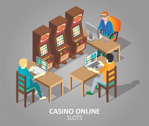 Les machines à sous en ligne casino vector illustration isométrique